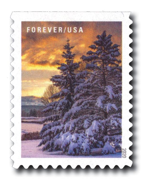 2020 First-Class Forever Stamps - Winter Scenes: Snowy Morning at Sunrise