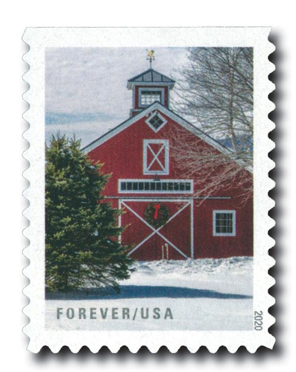 2020 First-Class Forever Stamps - Winter Scenes: Red Barn with Wreath