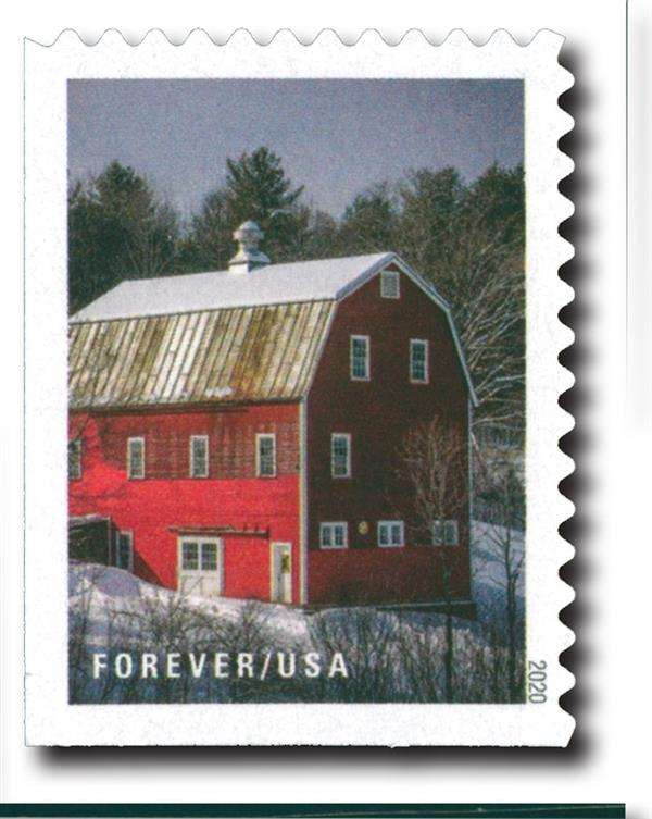 2020 First-Class Forever Stamps - Winter Scenes: MacKenzie Barn, Woodstock, Vermont