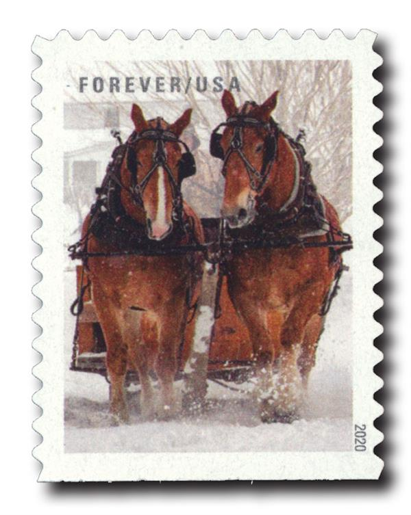 2020 First-Class Forever Stamps - Winter Scenes: Belgian Draft Horses