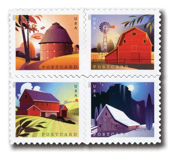 2021 36c Barns set of 4