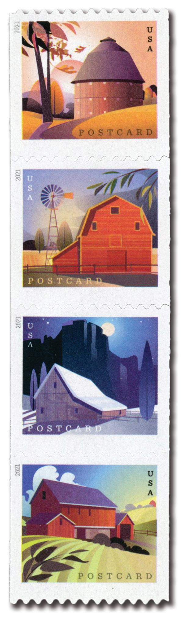 2021 Barns postcard rate stamps