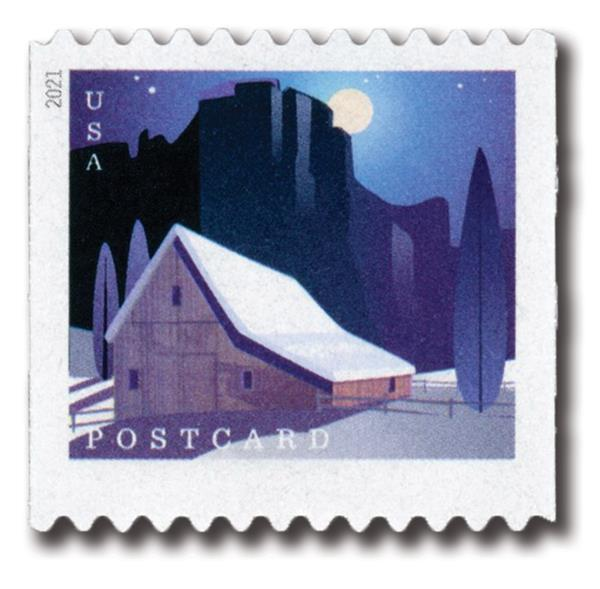 2021 36c Barns (coil): Western Barn in Winter