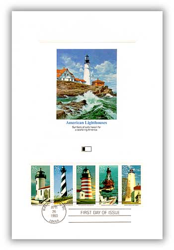 1990 Lighthouse Booklet Pane Proofcard