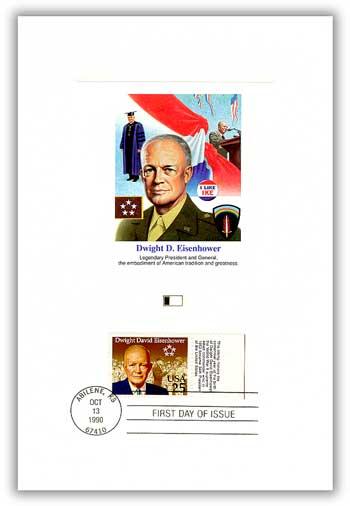 1990 25c Eisenhower as President Tab Proofcrd