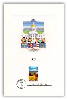 1991 Vermont Statehood 29c Proofcard