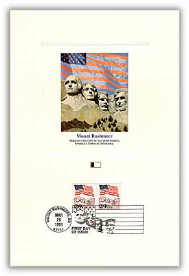1991 Flag over Mt. Rushmore Coil 29c PFCD