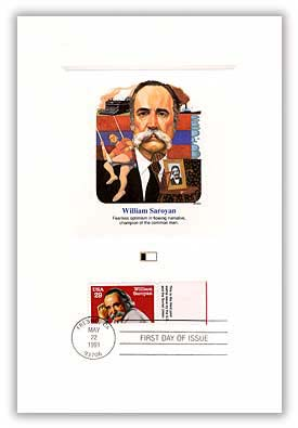 1991 29c Saroyan tab Proofcard/joint issue