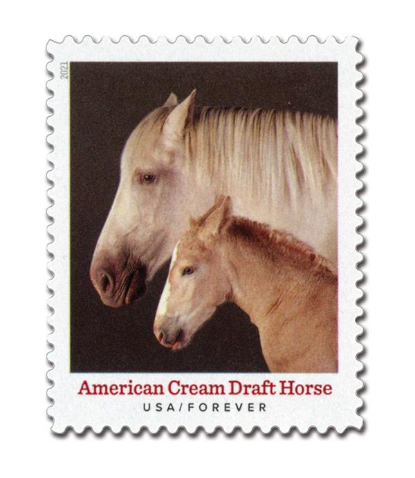 2021 First-Class Forever Stamp - Heritage Breeds: American Cream Draft Horse
