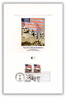 1991 Flag Over Mount Rushmore 29c Proofcard