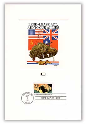 1991 WWII-Lend Lease 29c Act Proofcard