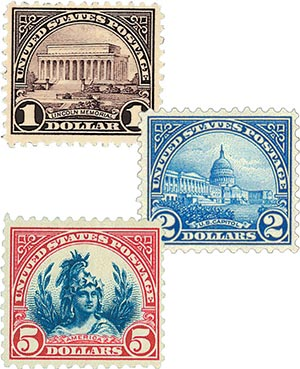 1922-25 $1-$5 Flat Plate Printing, collection of 3 stamps