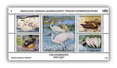 1985 National Audubon Society - Mint Sheetlet Wildlife Conservation Stamps