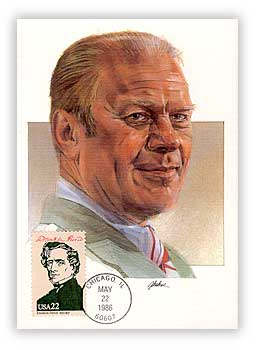 1986 Presidents Maxicard - Gerald Ford Cache with miscellaneous President Stamp