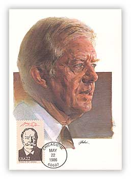 1986 Presidents Maxicard - Jimmy Carter Cache with miscellaneous President Stamp