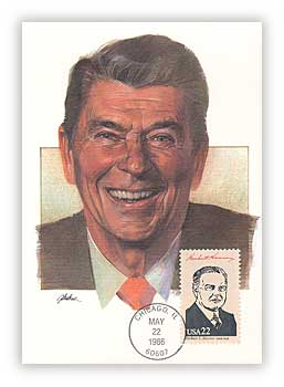 1986 Presidents Maxicard - Ronald Reagan Cache with miscellaneous President Stamp