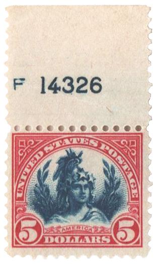 1923 $5 America, carmine lake and dark blue