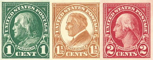 Coplete Set, 1923-25 US Imperforate Stamps