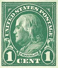 1923 1c Franklin, imperforate green