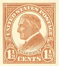 1925 1 1/2c Harding, imperforate, yellow brown