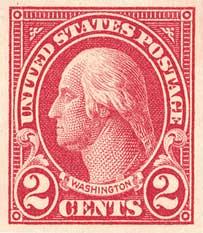 1925 2c Washington, imperforate, carmine