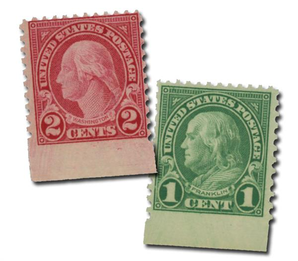 1923 1c Franklin and 2c Washington Fresh From Sheet