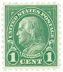 1923 1c Franklin, green