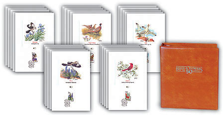 1982 Birds & Flowers Proofcards - State Capitols cancellation - set of 50 with album