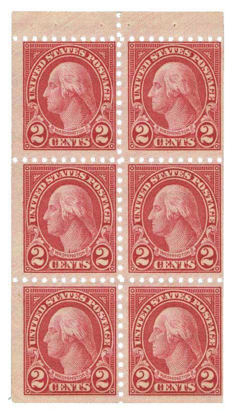 1926 2c Carmine - Booklet pane of 6