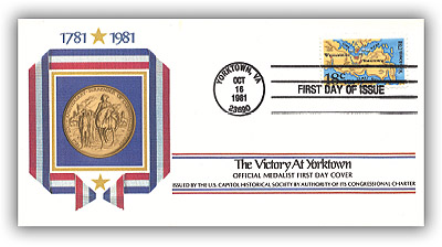 Item #59046 – Yorktown Bicentennial Gold Medal First Day Cover.