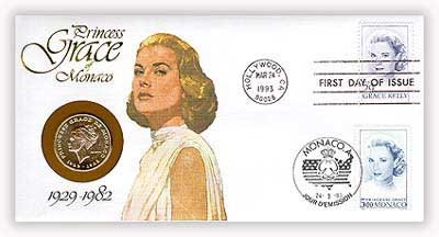1993 Grace Kelly Coin First Day Cover
