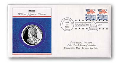 1992 93 Bill Clinton Inaugural Cover with Medal