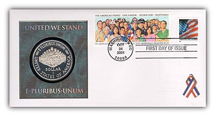 2001 United We Stand Coin FDC with Sleeve