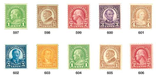 1923-29 1c-10c Rotary Coil, set of 10 stamps