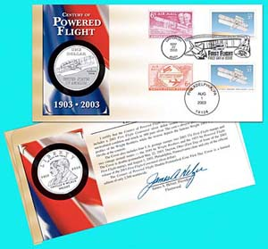 2003 Centennial of Powered Flight Coin Cover