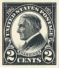 1923 2c Harding, black, imperforate