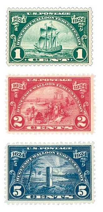 1924 Huguenot-Walloon Commemoratives Set of 3 - DC Cancel