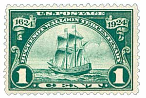 1924 1c Huguenot-Walloon Tercentenary: Ship Nieu Nederland