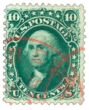 1861 10c Washington, dark green