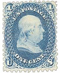 1861 1¢ Benjamin Franklin, blue