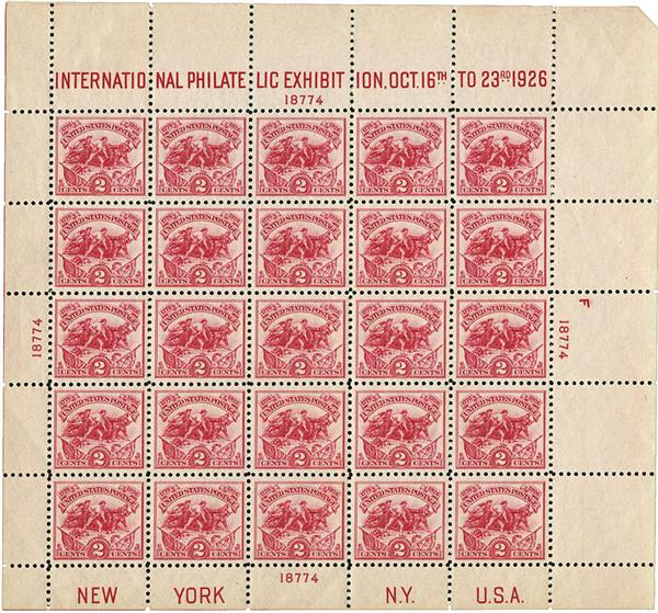 1926 2c Battle of White Plains Souvenir Sheet - International Philatelic Exhibition Issue