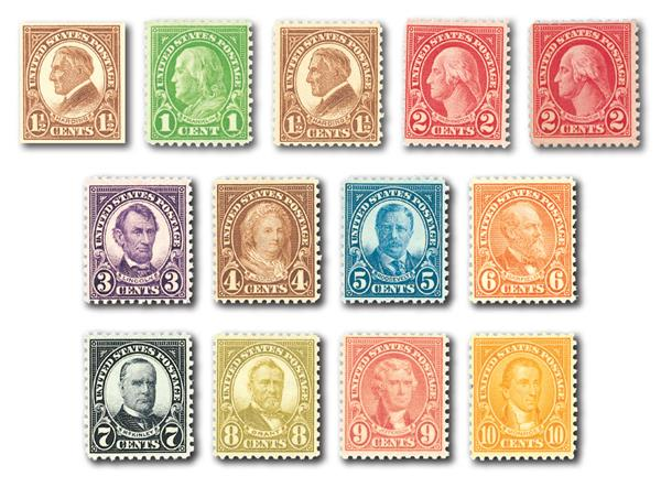 1926-28 Rotary Imperforates, collection of 13 stamps