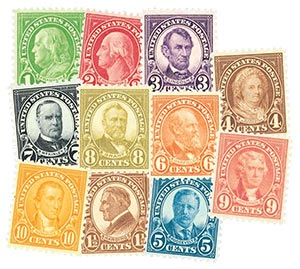 1926-28 Rotary Stamps, set of 11