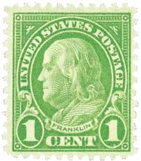 1926-28 1c Franklin, green