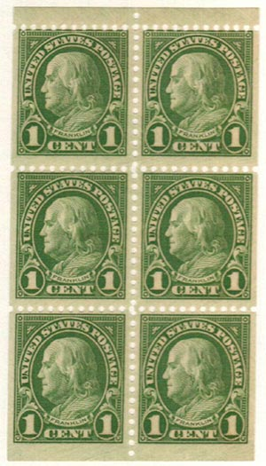 1926-34 1c Franklin,green,bklt pane (6)