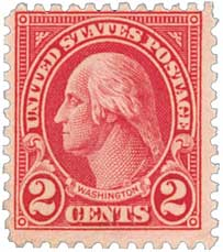 1928 2c Washington, carmine, type II