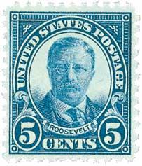 1927 5c T. Roosevelt,dark blue
