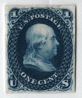 1861 1c blue on India paper