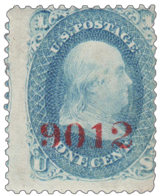 1861 1c Blue Specimen with Control Number 9012 in Carmine