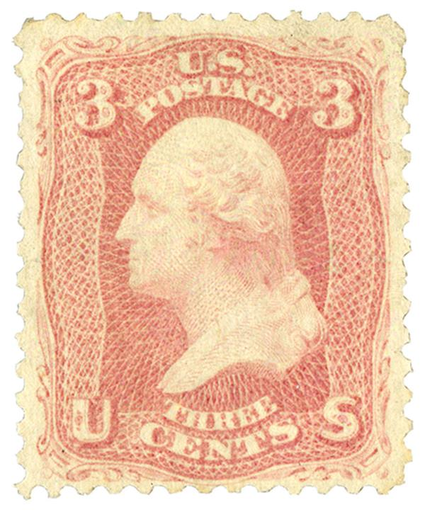 1861 3c Washington, pink